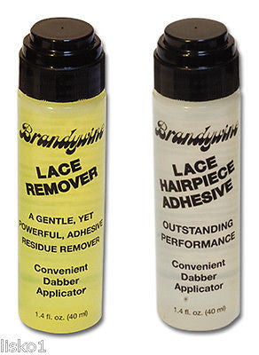 WIG GLUE AND GLUE REMOVER BRANDYWINE LACE WIG TOUPEE HAIRPIECE ADHESIVE GLUE & REMOVER   2- 1.4 OZ BOTTLES