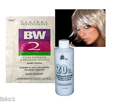 HAIR BLEACH CLAIROL BW2 BLEACH POWDER HAIR LIGHTENER  w/ 4oz. 20 VOL PEROXIDE DEVELOPER