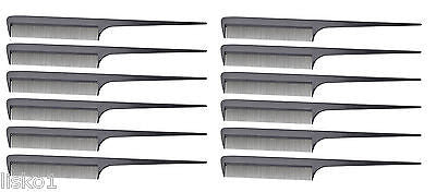 MARVY #200 BUDGET FINE TOOTH RAT-TAIL HAIR COMB, FLEXIBLE PLASTIC, 12-COMBS