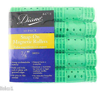 "HAIR ROLLERS DIANE #4718  GREEN  SNAP-ON  MAGNETIC  7/8"" HAIR ROLLER   (10-PER PACK)"