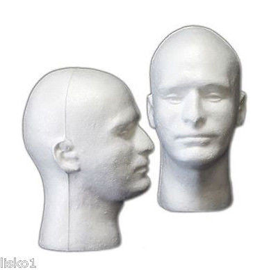 WHITE MANNEQUIN/ MANIKIN STYROFOAM HEADS WIG/HAT DISPLAY,MALE