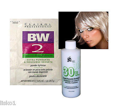 HAIR BLEACH CLAIROL BW2 BLEACH POWDER HAIR LIGHTENER  w/ 4oz. 30 VOL PEROXIDE  DEVELOPER