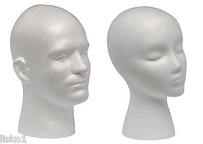 WHITE MALE & FEMALE STYROFOAM MANNEQUIN  WIG / HAT/ RETAIL  DISPLAY  (2-heads)