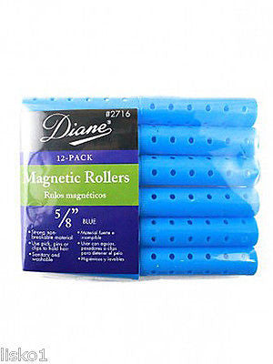 "HAIR ROLLERS DIANE #2716 BLUE MAGNETIC 5/8"" HAIR ROLLER   (12-PER PACK)"