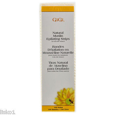 GIGI NATURAL MUSLIN EPILATING STRIPS FOR WAXING, BODY HAIR REMOVAL LARGE 3X9 100
