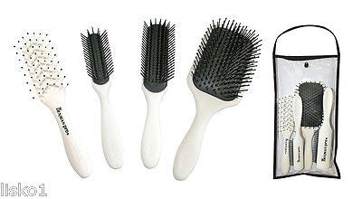 HAIR BRUSHDENMAN PRO-STARTER 4-PIECE HAIR BRUSH SET, TRAVEL BAG