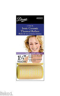 "HAIR ROLLERS DIANE #5022 1-1/4"" YELO  SELF GRIP IONIC CERAMIC ROLLER"