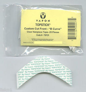 "TOPSTICK CLEAR MENS HAIRPIECE  ""B"" CURVE TAPE,"