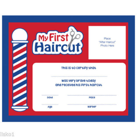 "FIRST HAIR CUT CERTIFICATE Barber Shop My First Haircut"" Certificates / 12 Pack  10""W 8 H  #SC-MFH"