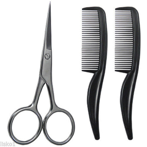 "Facial Hair Grooming Kit, 4""-scissor, 2-3"" mustache combs Scalpmaster #SC-9026"