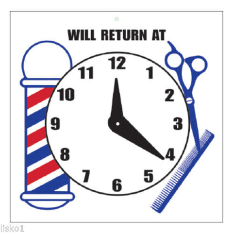 "WILL RETURN SIGN BARBER SHOP ""WILL RETURN"" SIGN"
