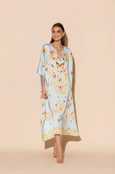 Wrap Up by VP Blue Butterflies Long Caftan