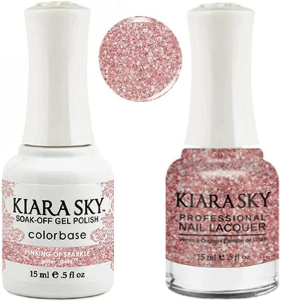 Kiara Sky - Matching Gel Polish and Nail Lacquer, Pinking of Sparkle