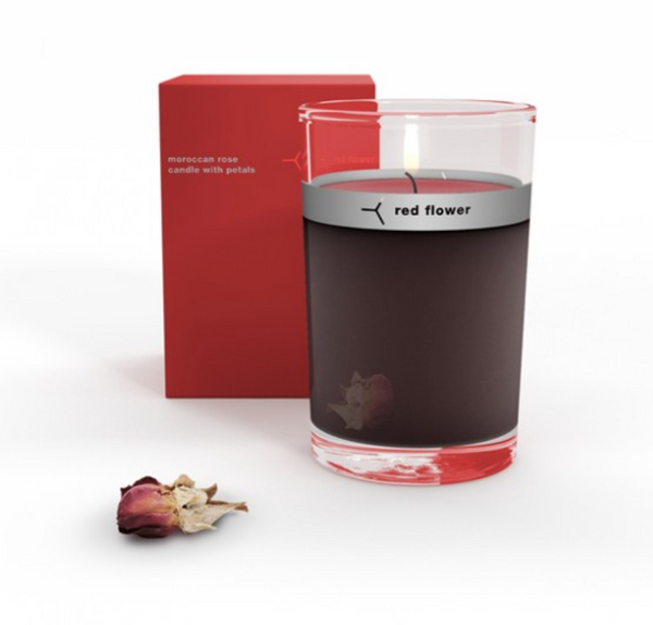 Red Flower - Moroccan Rose Petal Topped Candle