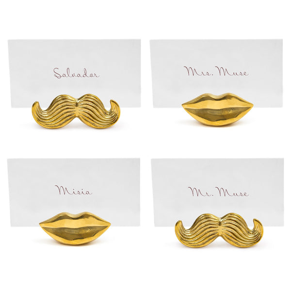 Jonathan Adler Mr. & Mrs. Muse Brass Place Card Holders, Set of 4