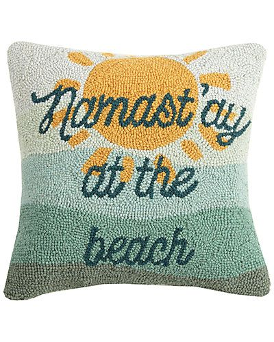 "Peking Handicraft ""Namast'ay at the Beach"" Hook Pillow"