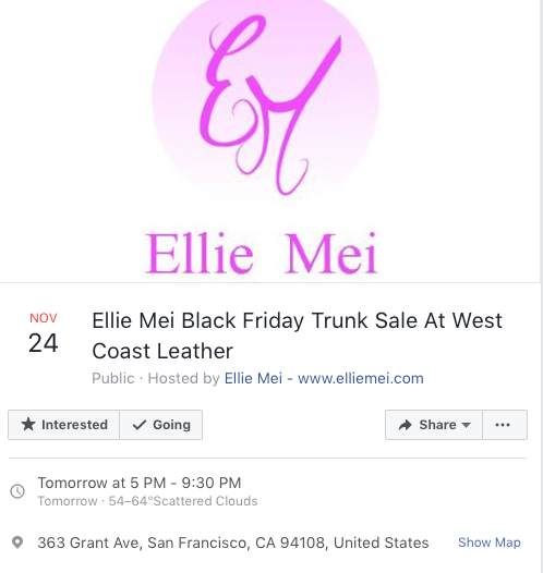 Ellie Mei Black Friday  Trunk Sale . Christmas Shopping Event