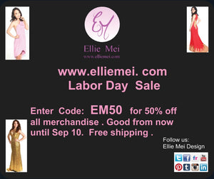 Ellie Mei . www.elliemei.com  Labor Day Sale -- 50% off
