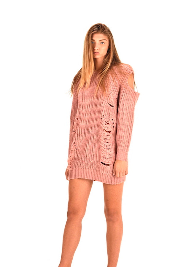 Women's Pink Cutouts Sweater #EMW180029