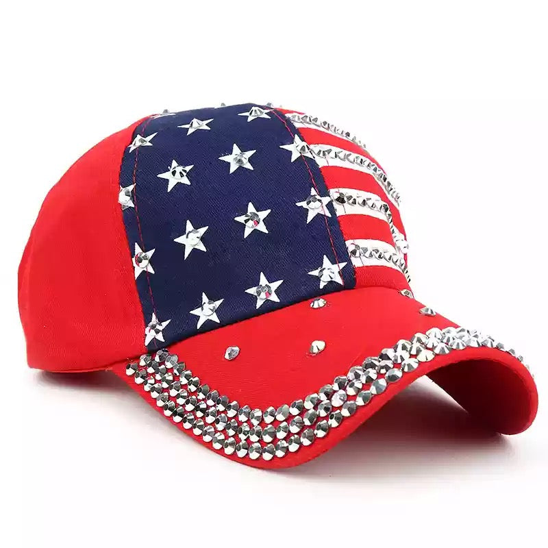 America Flag Baseball Cap. Red White and Navy Blue with Stars,Stripes Veteran Cap ITEM NO:EMWH1802