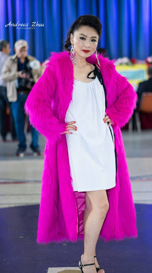 hot pink faux fur coat , long body faux fur coat christmas coat winter warm coat snow coat ski coat fur coat fashion show coat designer's coat unique hot pink coat christmas gifts idea