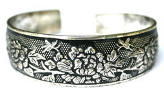 Fashion Floral Etched Sterling Silver Cuff Bracelet EM-B2