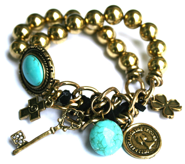 Women's Floral Turquoise With Cross  And Key Gold Stretch Bracelet EM-B5