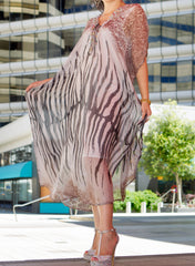 Ellie Mei Women's Long Striped Printed Caftan dress .  Maxi Caftan  .Maxi Resort KHL-EM1001 Grey