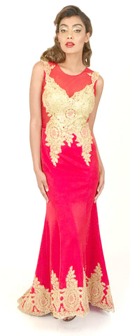 Women's Red Mermaid Evening Gown Prom Party Dresses EM0001