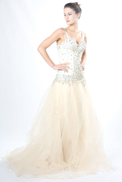 Women's Beige Bridal Dress. Sparkle Princess Evening Gown.Princess Prom EM00031