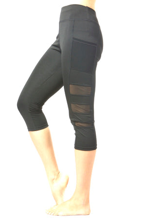 Women's Active Wear Black Stretch Yoga Legging Two Side Pockets #EM180019A