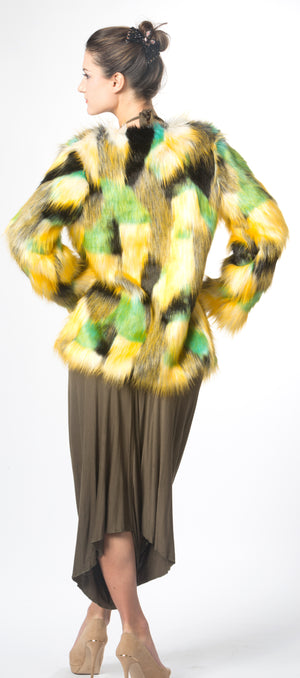 Colorblock Luxury Faux Fur Coat  Red Green Faux Fur Jacket #EM18001