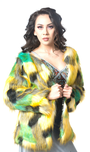 la showroom vendor must have listColorblock Luxury Faux Fur Coat Red Green Faux Fur Jacket #EM18001 wholesale colorful faux fur jacket Oscar jacket red carpet jacket pageant jacket Christmas jacket colorful faux fur jacket multi color faux fur coat  Ellie Mei design jacket