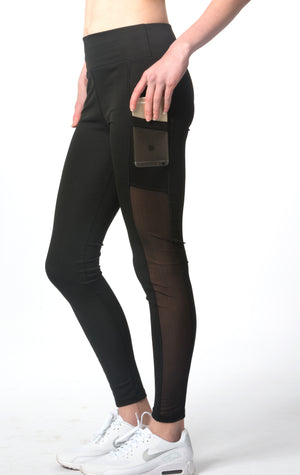 Women's Active Wear Black Mesh Slim Stretch Yoga Legging With Two Side Pockets ITEM NO: EM180018