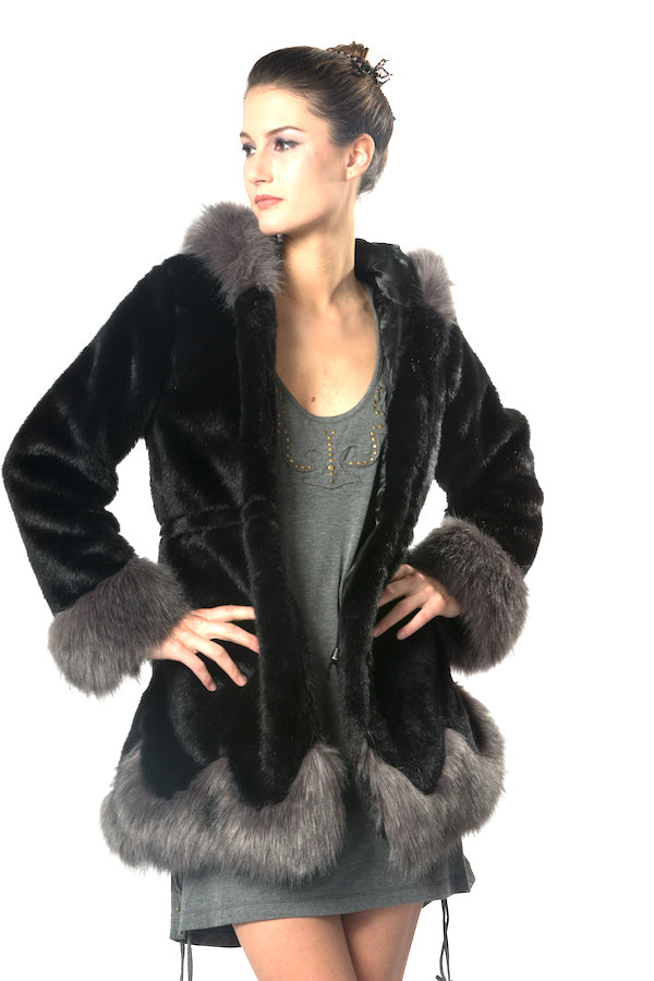 Black and Grey Faux Fur Warm Coat EM18003 wholesale faux fur coat  top fashion faux fur jacket la showroom vendor designer's store top fashion faux fur coat must have list faux fur hoodie faux fur with hat nyfw mlfw ldfw pfw sffw lafw USA brand jacket  faux fur coat cheap warm faux fur coat black faux fur coat plus size hooded faux fur coat