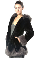 Black and Grey Faux Fur Warm Coat EM18003