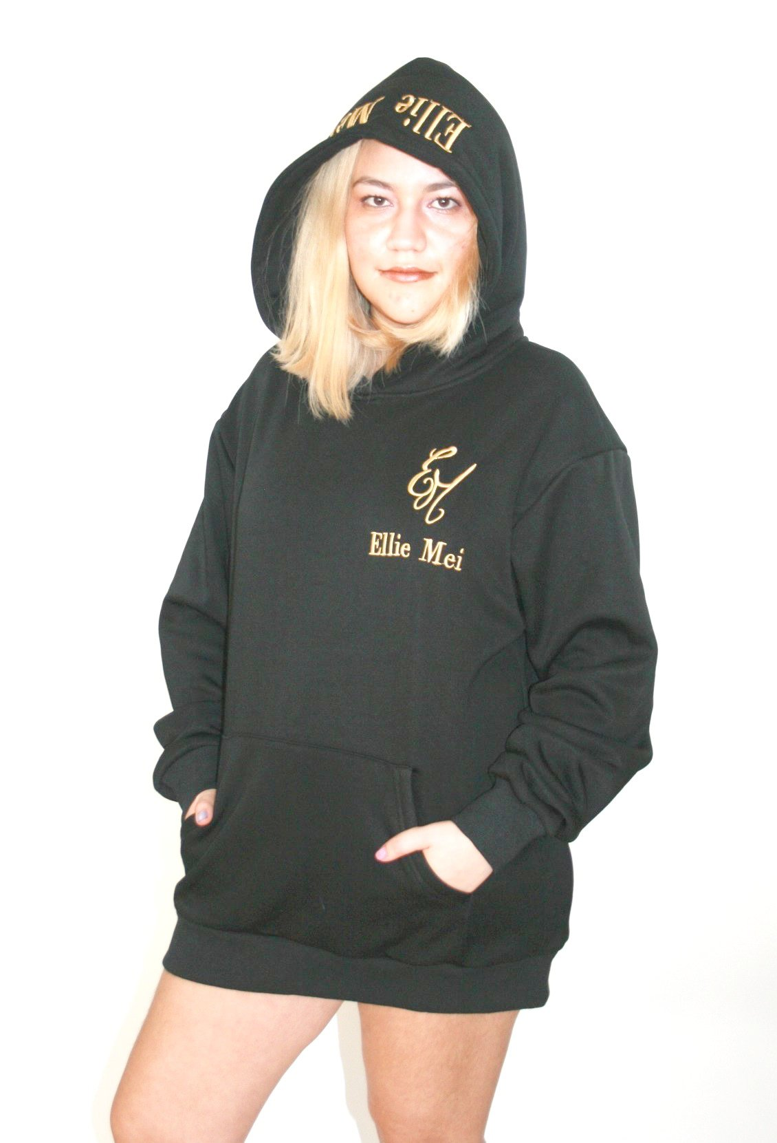 Ellie Mei Black Unisex Embroidery Hoodie Cotton Hoodie Maxi Top EMW180053