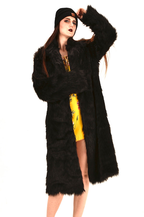 unisex black faux fur coat loose fit coat fashion show coat nyfw pfw mlfw lafw sffw jpfw cfw gzfw ldfw top fashion coat winter warm faux fur coat