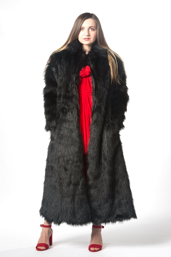 black unisex  faux fur coat , long body faux fur coat christmas coat winter warm coat snow coat ski coat fur coat fashion show coat designer's coat unique black coat christmas gifts idea