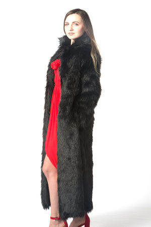 unisex black faux fur coat loose fit coat fashion show coat nyfw pfw mlfw lafw sffw jpfw cfw gzfw ldfw top fashion coat winter warm faux fur coat Christmas gift idea best gift must have list
