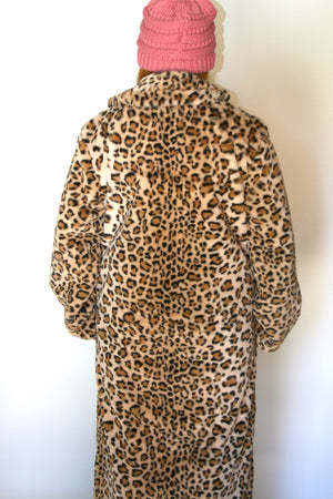 Long Body Leopard  Faux Fur Coat  #EM18006T