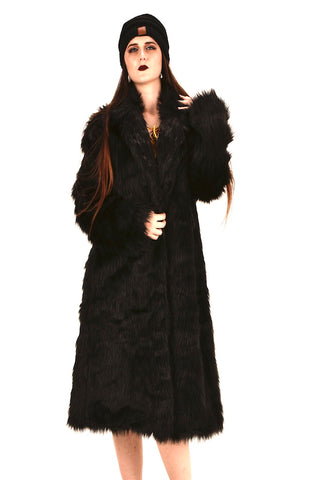 Unisex  Man And Women Long Black Faux Fur Coat Warm Jacket #EM18006