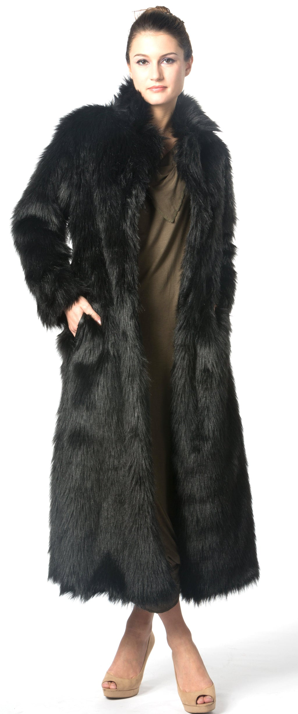 black faux fur coat , long body faux fur coat christmas coat winter warm coat snow coat ski coat fur coat fashion show coat designer's coat unique black coat christmas gifts idea best birthday gift