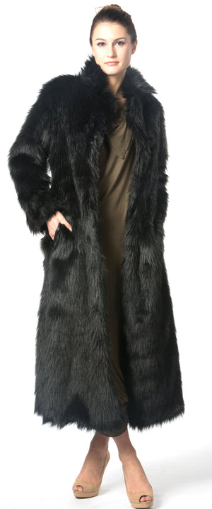 Long Black Faux Fur Coat Warm Coat #EM18006
