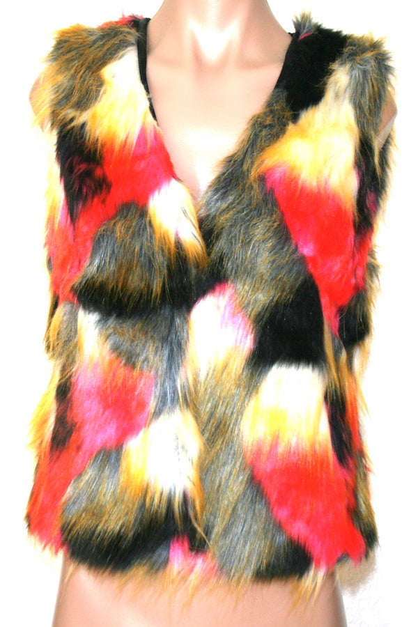 Colorblock Faux Fox Fur Vest  Faux Fur Warm Jacket  #EM18009