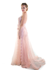 Pink Lace Evening Gown . Bridesmaid EM2002