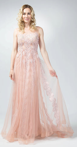 Ellie Mei Pink Sparkle  Lace Evening Gown . Prom. Bridesmaid .Bridal EM2002