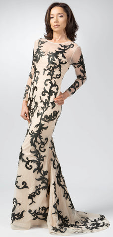 Ellie Mei Women's Beige Long Sleeves Lace Evening Gown ITEM NO EM2004
