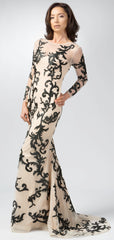 Women's Long Sleeves Lace Evening Gown ITEM NO EM2004