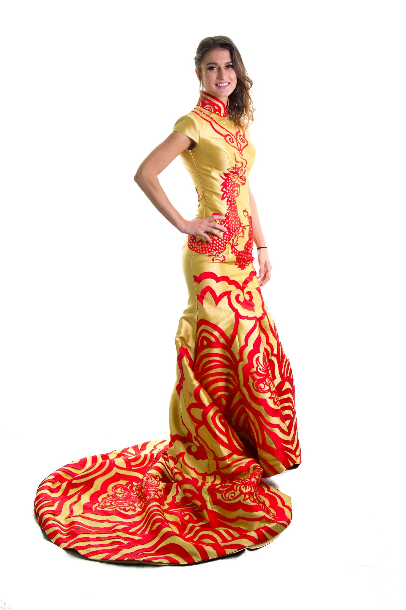 Golden Mermaid Qipao  Dress. Cheongsam .  Luxury Red Carpet Dresses EMQ1